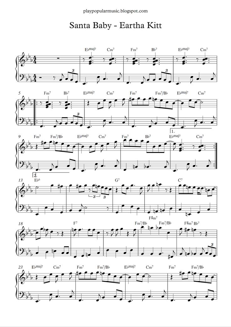 Free piano sheet music:  Santa Baby - Eartha Kitt.pdf    I'll wait up for you dear.  Santa baby, so hurry down the chimney tonight.        ...