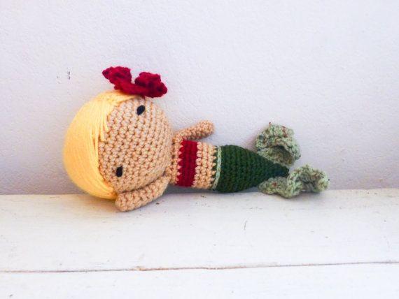 Mermaid stuffed doll mermaid tail doll for sale blonde hair green mermaid fin ready to ship hand crochet doll plush mermaid by SixthandDurian
