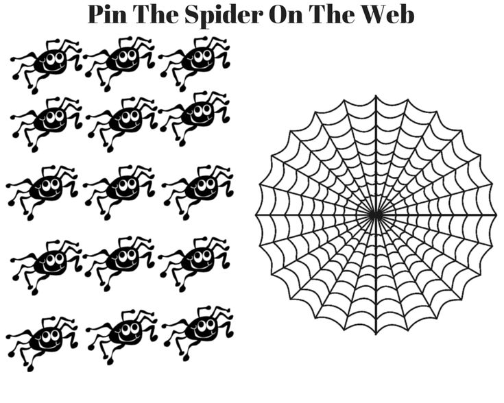 Pin The Spider on the Web. Free printable Halloween game