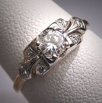 Antique Platinum Diamond Wedding Ring Art Deco .50ctw 1930's Engagement Ring