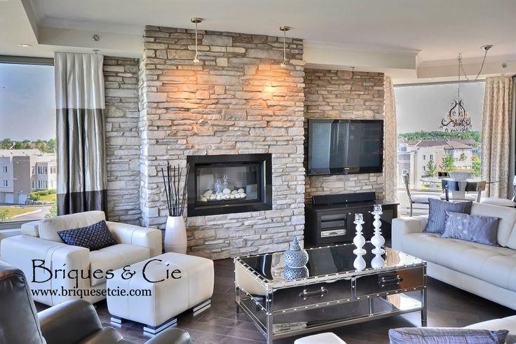 Cultured Stone, thin stone veneer, pierre décorative, fireplace, foyer, pierre, revêtement mural