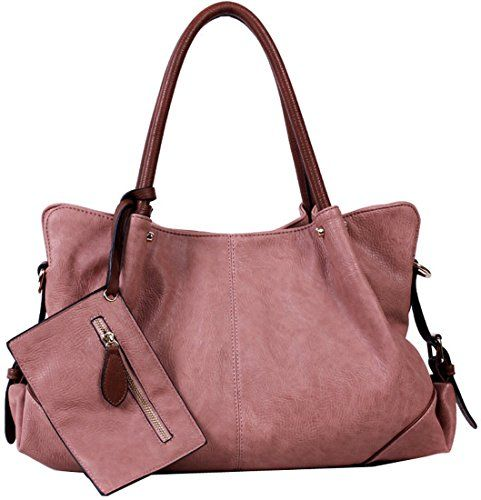 570f6a28aea8 Kenoor PU Leather Shoulder Handbag Tote Bag Satchel Large Capacity ...