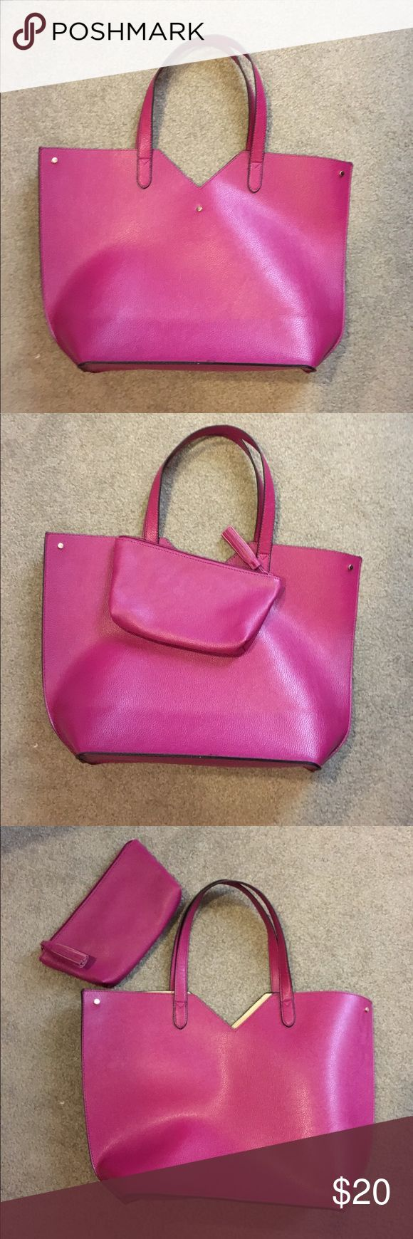 Neiman Marcus Tote & Clutch This bright pink tote bag and zippered clutch look great in the city, on the town, or taken to the beach. Neiman Marcus Bags Totes