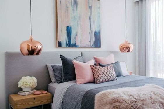 Pinks & Greys - perfect combination for the bedroom. Love the rose gold suspended lights.
