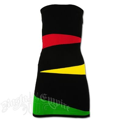 "This tube top mini dress features the rasta colors in a wave design on the front with black. The back of the dress is all black. The top band is elastic ribbed material. This rasta dress is a short mini dress and could be worn as a top.Length: Approximate 24"". Hand Wash. Do not dry. Made of 85% Acrylic and 15% Polyspan."
