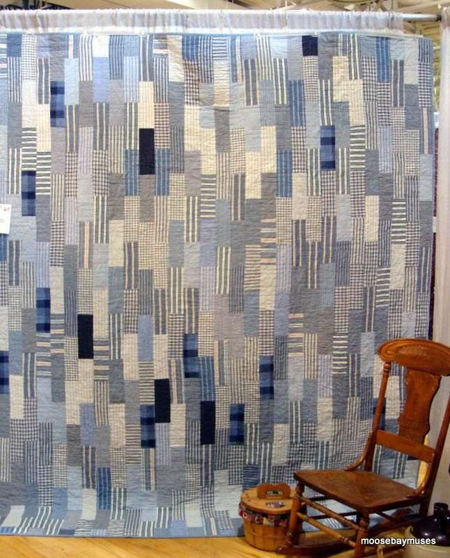 blue brick quilt made from men's shirts - Moose Bay Muses