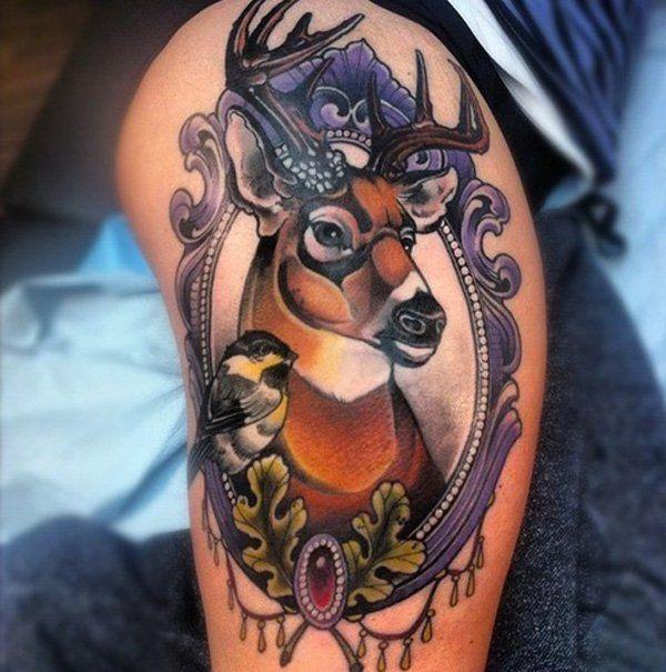 Deer Tattoo on Thigh for Women - 45 Inspiring Deer Tattoo Designs  <3 <3