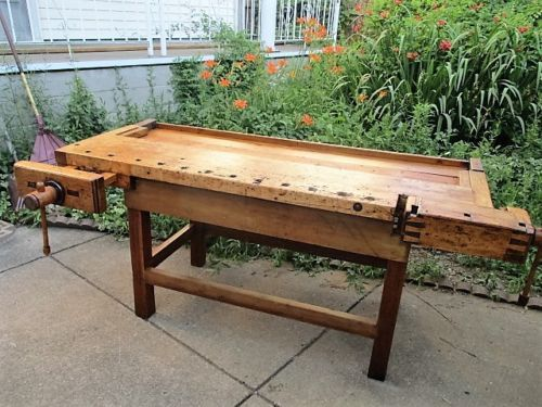 sears workbench chairs. large antique hardwood carpenters craftsman workbench with jaw vises sears chairs