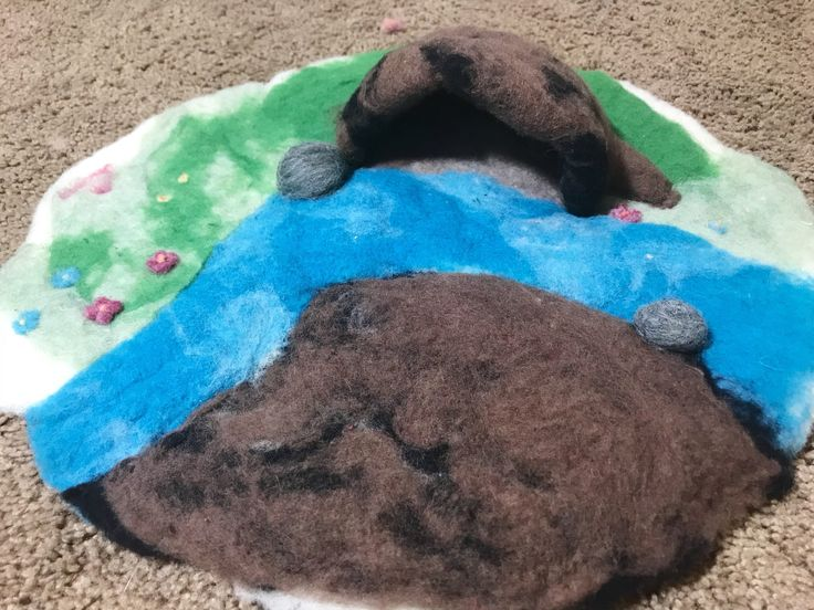Excited to share the latest addition to my #etsy shop: Large Adorable Waldorf Inspired Play scape Wet Felted Playmat Needle Felted Animal Season Table Playmat Landscape Cave Play-Mat Pre-School #children #toys #blue #birthday #christmas #green #toddlertoy #needlefelt #feltlandscape #feltplayscape #playscape #waldorftoy