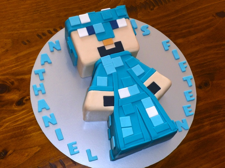 Sensational Diamond Steve Minecraft Cake Funny Birthday Cards Online Eattedamsfinfo
