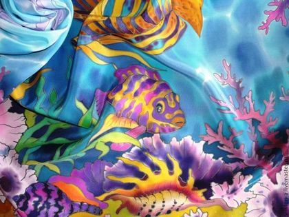 Купить или заказать Батик,платок-картина'Ласковое море',крепдешин90-90см.Натуральный шёлк. в интернет-магазине на Ярмарке Мастеров. Пусть море останется морем всегда. Пусть плещет, играет, искрится вода И ласковым шумом зовёт нас прибой В прекрасный и призрачный мир под волной. Николаева Полина Очень красивый и нежный крепдешиновый платок. Выполнен в технике холодного батика. Краски профессионально закреплены, не линяет и не выгорает. ОБШИТ ВРУЧНУЮ!!! Можно носить как платок или оформ...