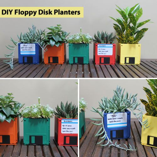 Turn your old floppy disks into colorful desktop planters