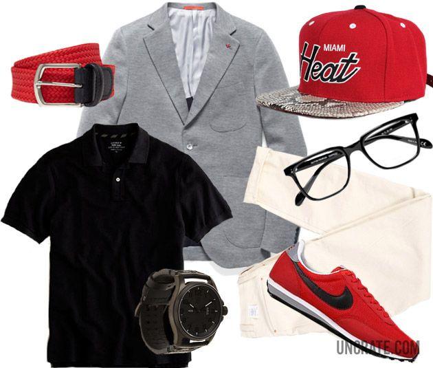 Garb: Heat - Cotton Jersey Sailor Sportcoat ($1,077). J. Crew Polo ($40). Hickoree's Unborn Jeans ($365). Nike Elite Sneaker ($70). Luminox Blackout Watch ($495). Custom Snakeskin Heat Snapback ($150). Anderson's Woven Waxed Linen Belt ($115). Oliver People's Glasses ($295)