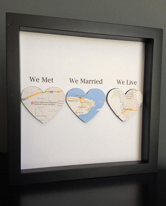 Personalized Paper Art in shadow box frame by PaperLine Art. Perfect gift for we…