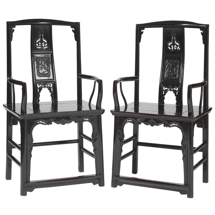 Antique Chinese Pr Official's Hat Rectangular Back Armchairs carved  Chinoiserie | From a unique collection of antique and modern more asian art, objects and furniture at https://www.1stdibs.com/furniture/asian-art-furniture/more-asian-art-furniture/