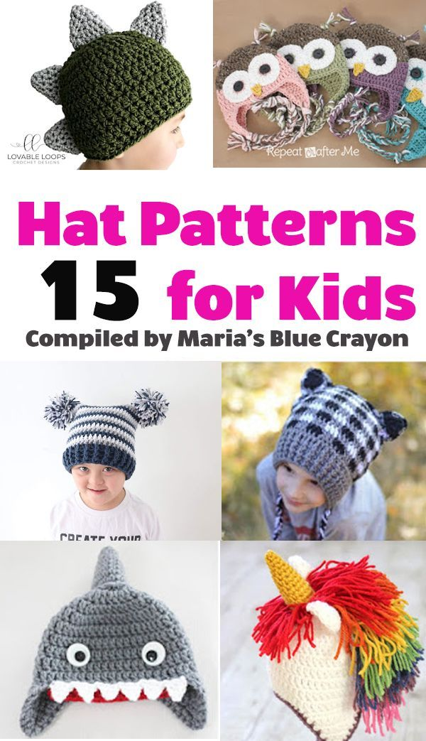 3e27e3c7658 Find the best free crochet hat patterns for kids in this round-up! Compiled  by Maria s Blue Crayon blog.  crochet  free  kids  crochethats  children   easy ...