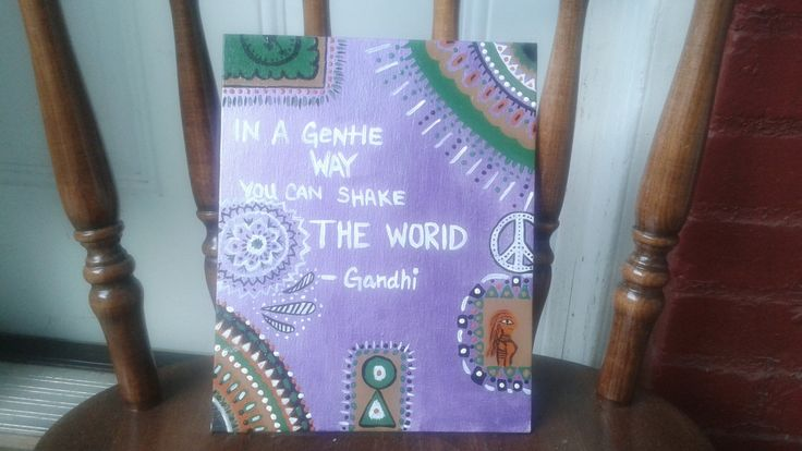 Acrylic Hand Painted / Quote Canvas Panel / Gandhi Quote / Hippie Painting / Purple Painting by DiligentClusters on Etsy
