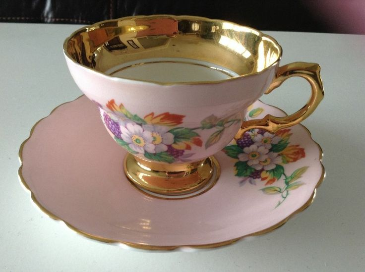 Rosina England Pink Gold Trim Flowers Bone China Tea Cup Set