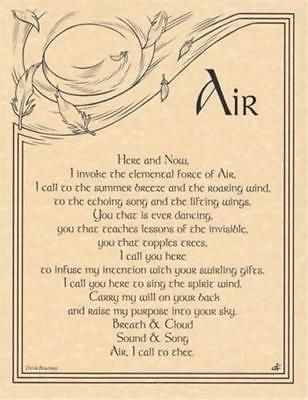 Details about Air Invocation Parchment Page for Book of Shadows, Altar  – Wicca