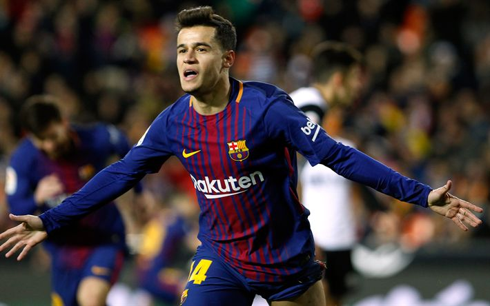 Download wallpapers Philippe Coutinho, goal, Barcelona FC, Brazilian football player, Spain, La Liga