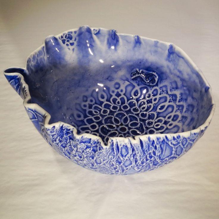blue - Lace flowers - glazed porcelain - John Bauer