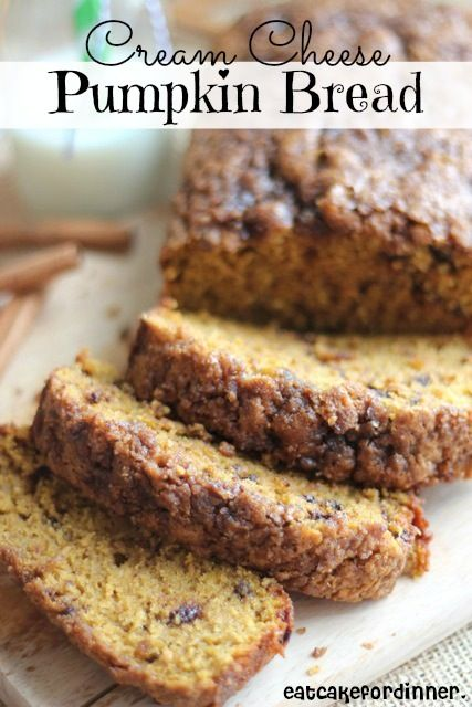 Cream Cheese Pumpkin Bread...i would substitute all my regulars...whole wheat flour, coconut oil, evap. cane juice for brown sugar, and bag the streusel topping to make this healthier...haven't tried yet but plan to! love all things pumpkin!