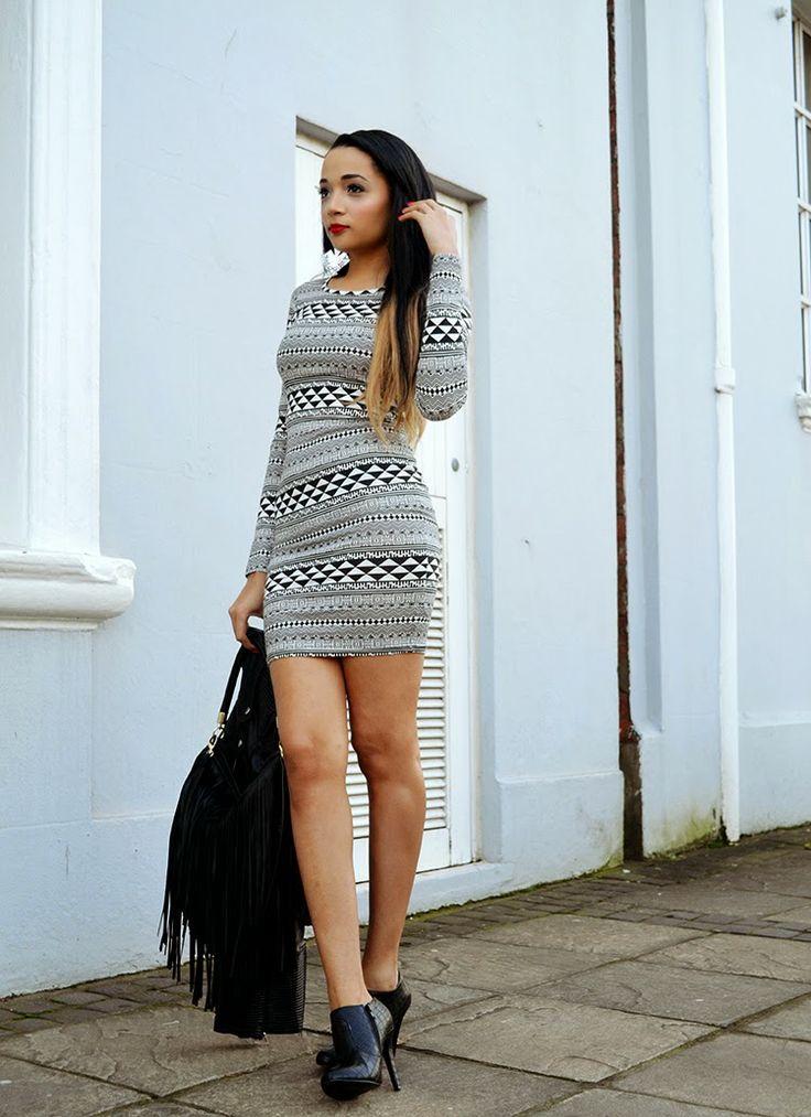 Aztec Dress {Monochrome Monday OOTD}