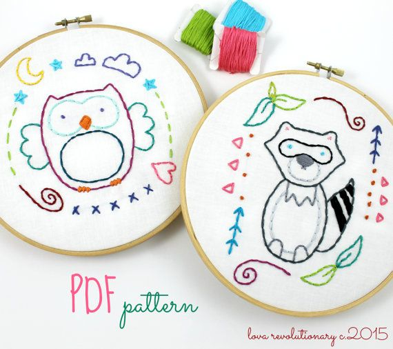 Woodland Animals Owl & Raccoon Hand Embroidery by lovahandmade