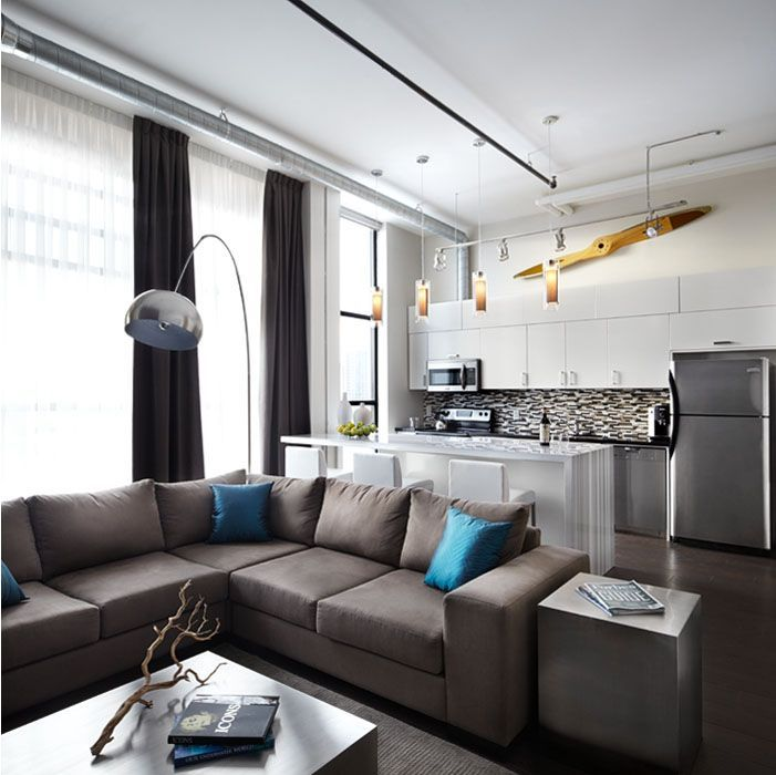 condo living room interior design - Metal accents, Open concept and ontemporary living rooms on Pinterest