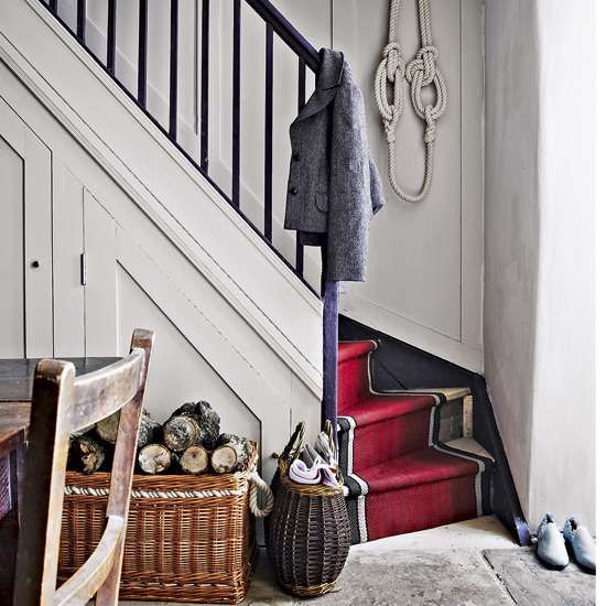 Red stair carpet for black and white staircase
