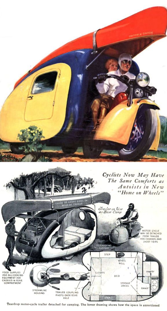 Vintage motorcycle camper trailer. Posted by Paul Crowe on www.TheKneeSlider.com. Source: Popular Science Magazine c. 1930.