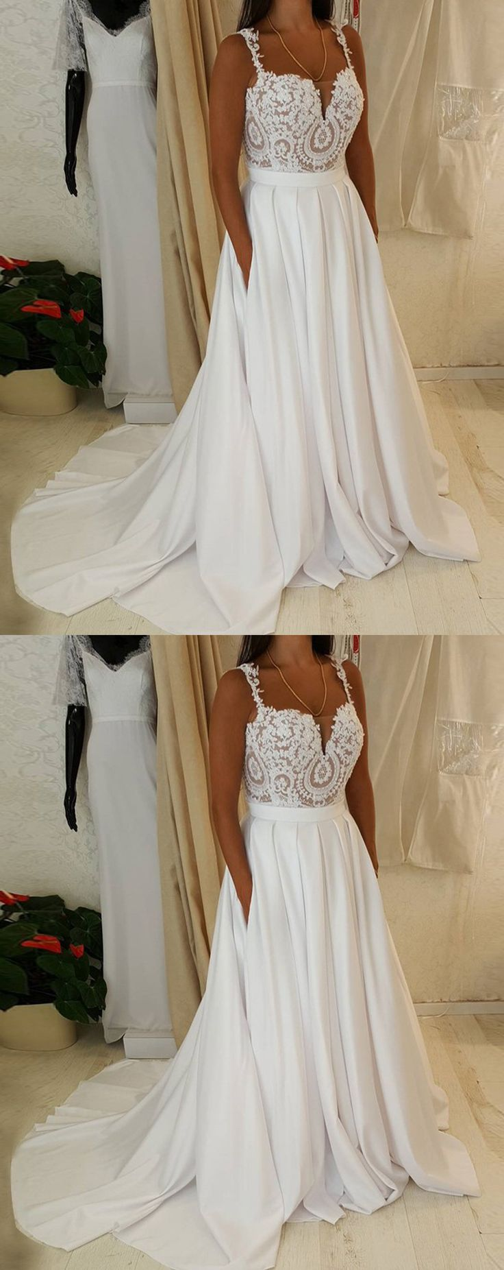 A-Line Wedding Dresses,Straps Wedding Dresses,Sweep Train Wedding Dresses,Satin Wedding Dresses,Chiffon Wedding Dresses,Pockets Wedding Dresses,Lace Wedding Dresses,Wedding Dresses 2017