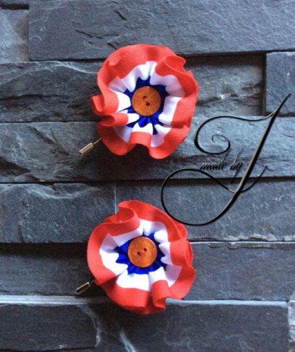 Rood,wit en blauw Lapel flower/pin