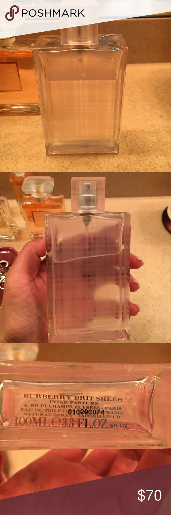Burberry Brit Sheer eau de toilette 100 ml Beautiful light scent from Burberry fragrances- Brit Sheer eau de toilette 100ml 3.3fl oz. bottle is 3/4 full. Authentic from the Burberry Chicago store. Great buy! Burberry Other
