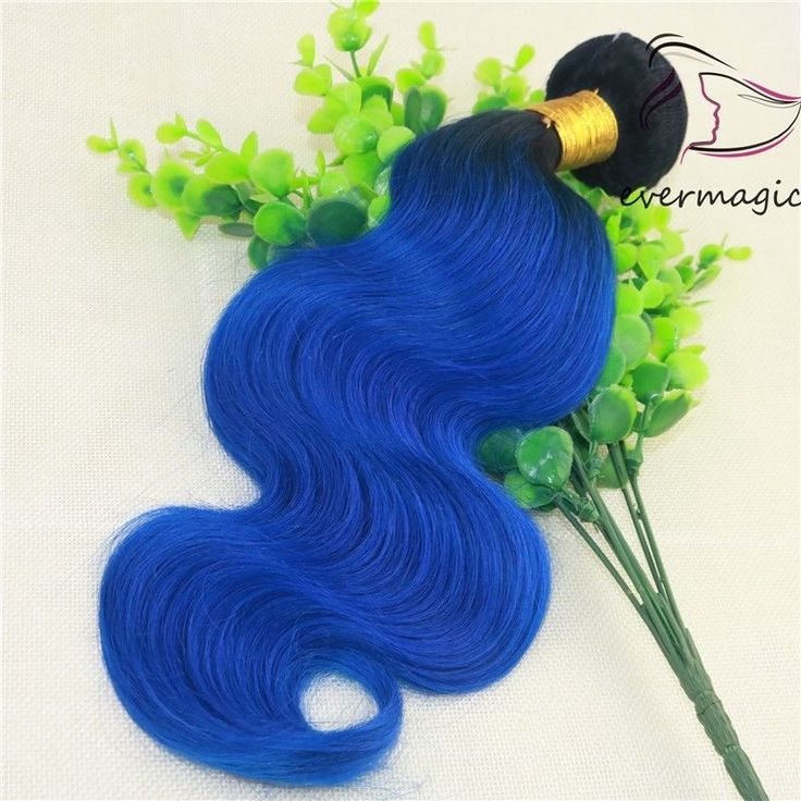 Two Tone Ombre Blue Body Wave 100% Human Hair Extensions Remy Weave Bundle #EVERMAGIC #Ombr
