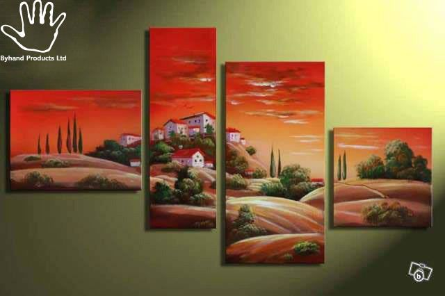 4 Piece House On Hill  Painting.  Strong African hand painting made on canvas. Suitable for living rooms, dining areas, corridors or offices. suitable for red colored walls, cream, white or yellow.  Size: 1.5M wide by 0.9M height. Get yours via www.nuerasamp.com.