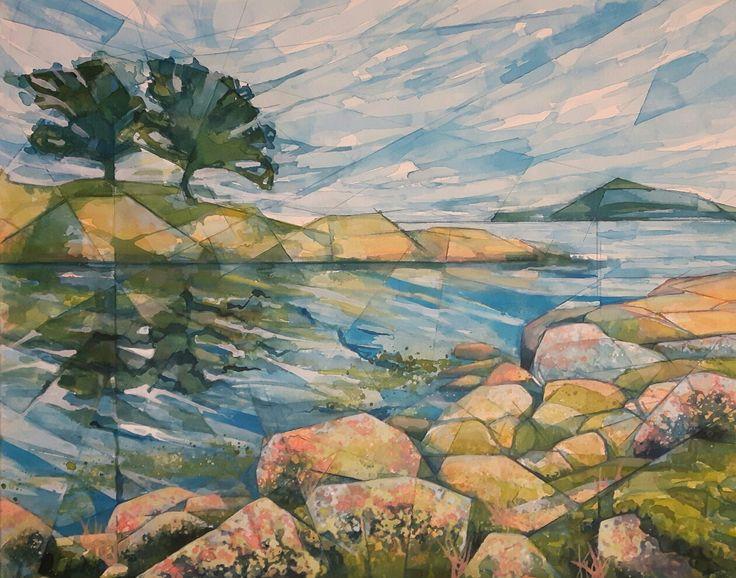 Skjærgården - akryl på lerret - Sissel Endresen - Sørlandet - sommer - sommeridyll - sjøen - akrylmaleri - acrylic -  painting - art - kunst - billedkunst - acrylicpainting