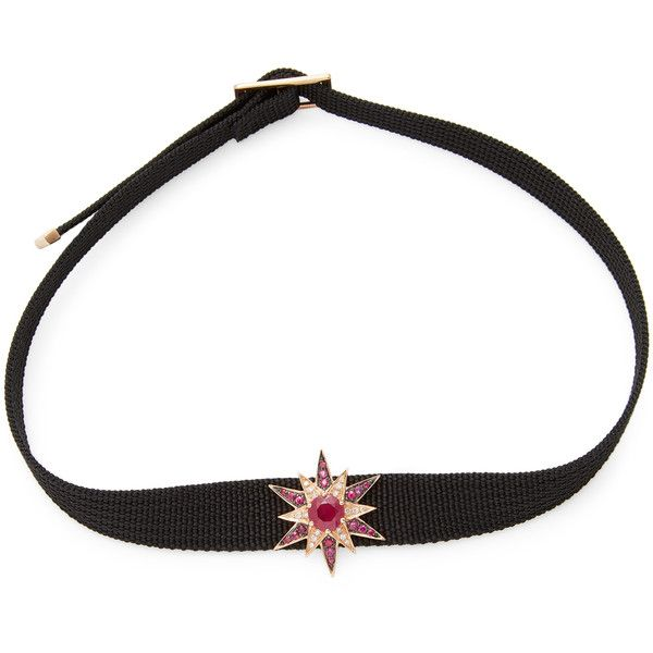 Shay Women's Ruby & Diamond Starburst Choker - Pink ($2,065) ❤ liked on Polyvore featuring jewelry, necklaces, pink, ruby necklace, pink necklace, 18 karat gold necklace, ruby diamond necklace and diamond jewelry