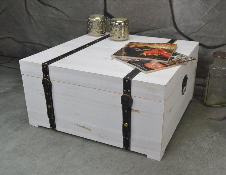 Couchtisch Truhe Holz NEU 60 x 60 cm Landhaus Weiß Shabby Chic LV2061  | eBay