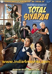Movie Information: Movie's Director:E. Niwas Movie's Producer:Neeraj Pandey,Shital Bhatia Movie's Cast:Ali Zafar,Yami Gautam Movie's Music Composer:Ali Zafar Movie's Country:India Movie's Genre:Romantic,Comedy Movie's Release Date:7-March-2014 Movie's Language:Hindi  Total Siyapaa(2014) Watch Full Latest Hindi Action Movie OnlineWith Cloudy: Coming Soon.....................  Total Siyapaa(2014) Watch Full Latest Hindi Action Movie OnlineWith Putlocker: Coming Soon…