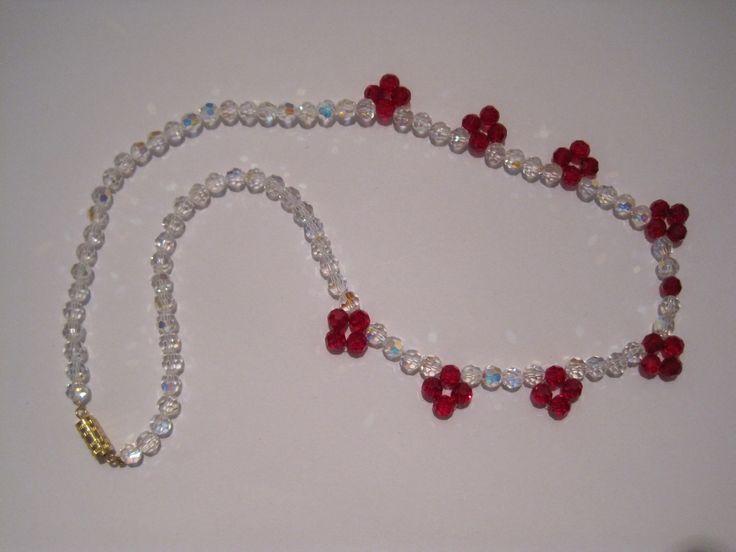 Collier Élégant en cristal taillées 5 mm rouge et blanches : Collier par josiane-bijoux