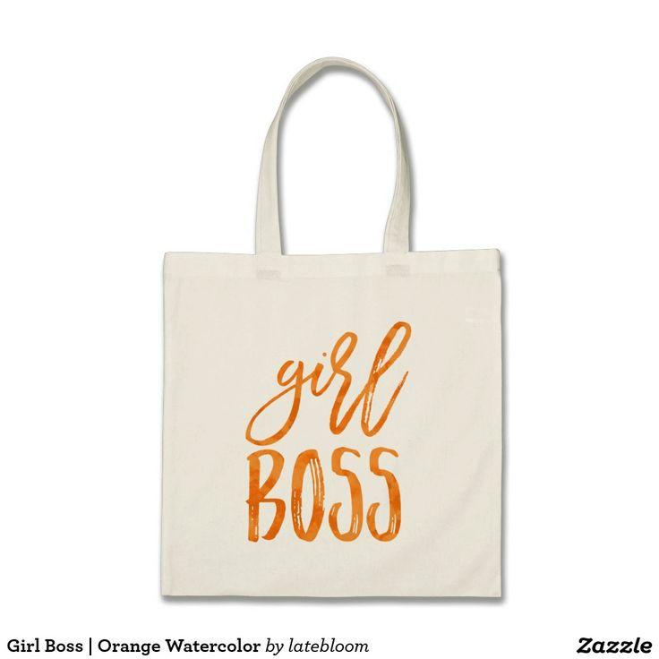 Girl Boss | Orange Watercolor Tote Bag