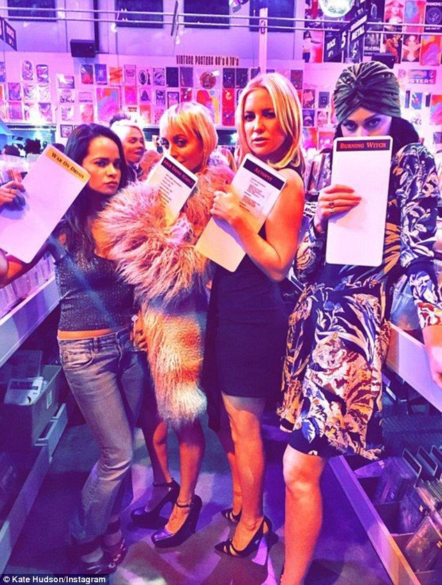 A-list friends: The party also drew attendance from Sophie Lopez (left), Nicole Richie (second left) and Katy (right), who Kate said were all getting a little 'weird' on Instagram