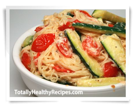 Healthy Pasta Recipe with Low-Cal Cream Sauce Serves 8 273 Calories 8g Fat 36g Carbs 12g Protein 8g Fiber