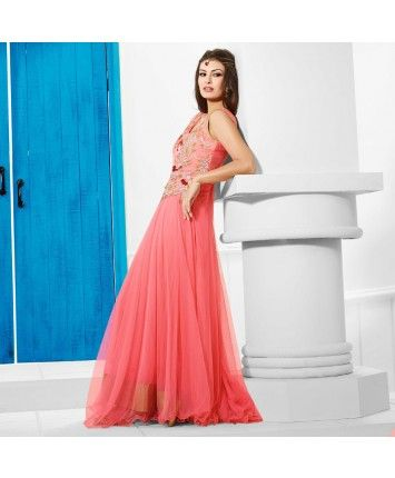 Stitched Dusty Pink Color Net Designer Gown #ohnineone
