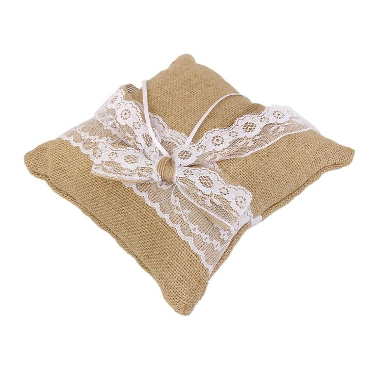20 x 20cm Rustic Wedding Party Vintage Lace Burlap Jute Ring Bearer Pillow with Lace Bowknot - Wedding Look