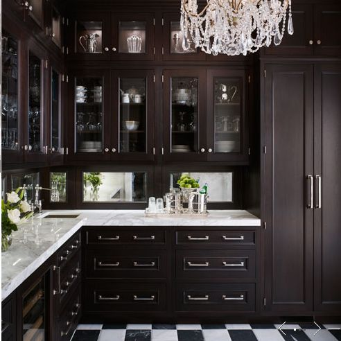 Be still my decorating heart in the dark and light elegance of it all.  ...classic black & white flooring and beveled mirror backsplash panels...and please, the chandelier is absolutely a perfect move to finish off this space    South Shore Decorating Blog