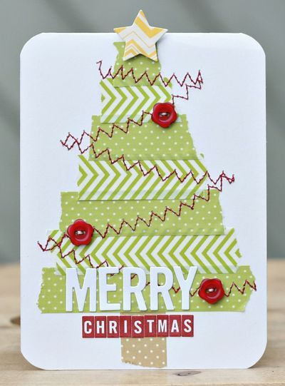 handmade Christmas card by CarinaLindholm ... washi tape tree with strips of two designs in the same green ... machine zig zag sewing in red for the garland ... cute button ornaments ... fun sentiment ... light hearted fun card ,,, luv it!!