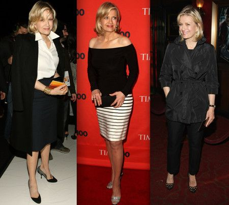 Diane Sawyer, journalist. LOVE her interview style - direct but friendly. She gets it done. And of course her fashion is well-tailored and sophisticated. Her hair is so cute!