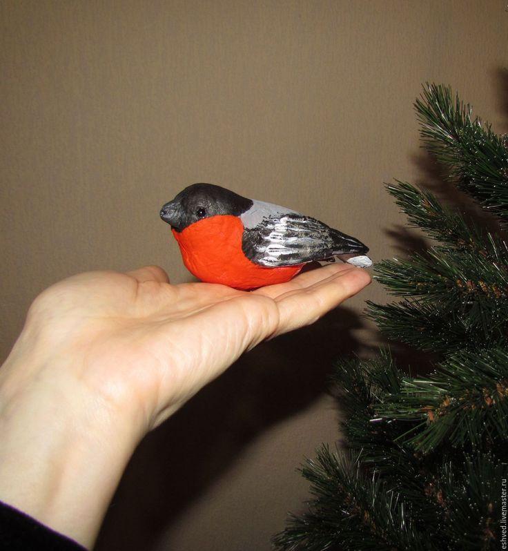 Купить Снегирь - ёлочная игрушка из ваты - ярко-красный, снегирь, птичка, птица, зима, елка